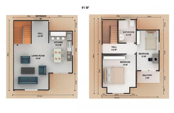 ასაწყობი სახლი 91 კვ.მ