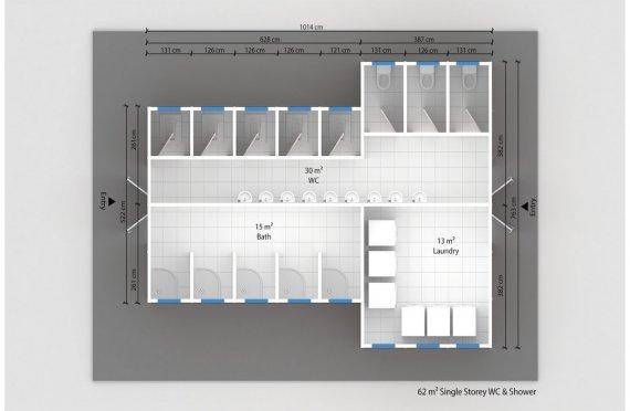 ასაწყობი საპირფარეშო&საშხაპე შენობა 62 კვ.მ