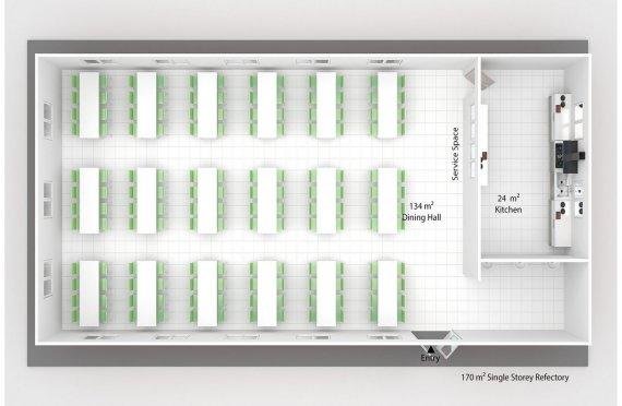 ასაწყობი კომერციული სამზარეულო 170 კვ.მ