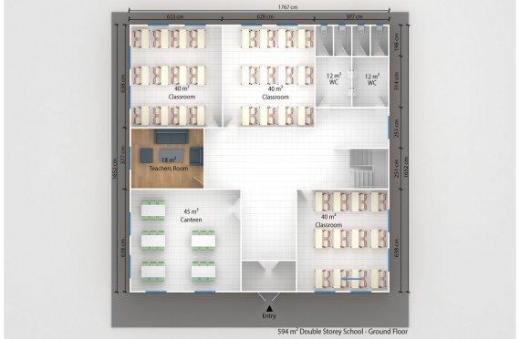 დასაშლელი საკლასო ოთახი 594 კვ.მ
