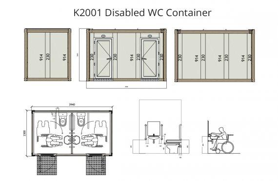k-2001 შეზღუდული შესაძლებლობების მქონე პირების საპირფარეშო კონტეინერი