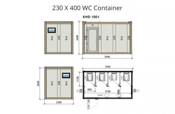 KW4 230X400 საპირფარეშო კონტეინერი