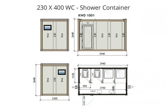 KW4 230X400 საპირფარეშო-საშხაპე კონტეინერი