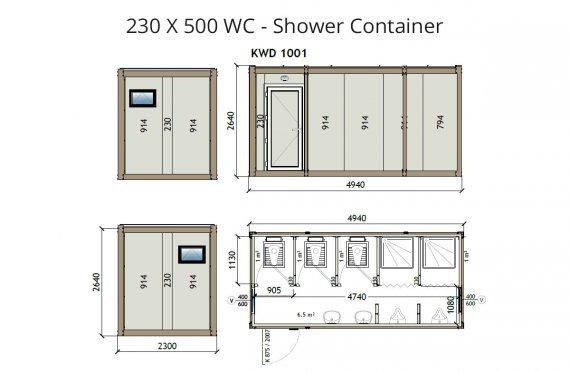 KW6 230X500 საპირფარეშო-საშხაპე კონტეინერი