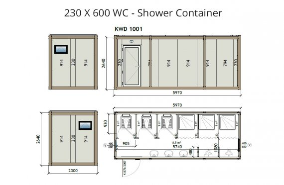 KW6 230X600 საპირფარეშო- საშხაპე კონტეინერი