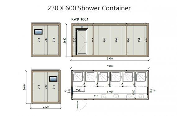 KW6 230X600 საშხაპე კონტეინერი