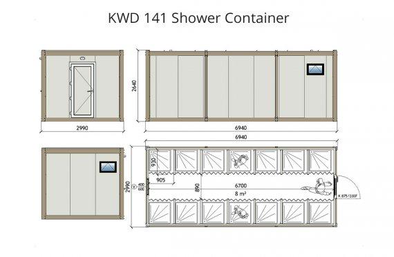 KWD 141 საშხაპე კონტეინერი